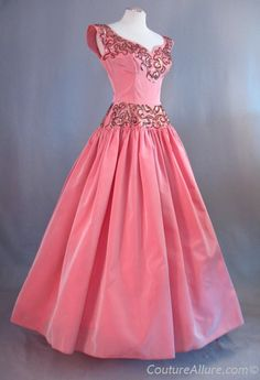 Vintage 50s EMMA DOMB Evening Dress Gown Taffeta Sequins Small bust 37 at Couture Allure Vintage Clothing