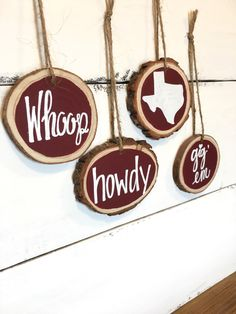 Aggie Christmas Ornaments, Wood Slice Christmas Ornament, Aggie Christmas Decor, Maroon Christmas Ornament by RestoreandSparkle on Etsy https://www.etsy.com/listing/474198514/aggie-christmas-ornaments-wood-slice