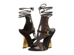 Sergio Rossi Minerva Wedge Tiger Stingray - Zappos Couture