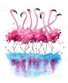 Flamingos Aquarell Lizenzfreies flamingos aquarell stock vektor art und mehr bilder von aquarell