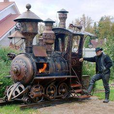 Steampunk Train BBQ Grill