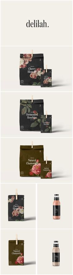 Branding & Packaging Design for Floral Juice Bar that Deliver Floral Based Edible Tea's Design Agency:Monograph&Co. Brand / Project Name:Delilah - Limited Edition Teas Location:Canada Category:#Tea #Beverages  World Brand & Packaging Design Society