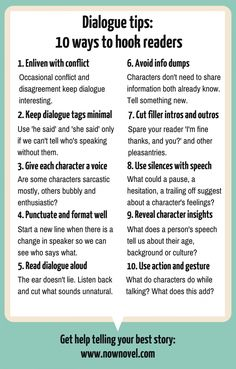 10 Dialogue Tips to Hook Readers 10 Dialogue Tips to Hook Readers Dialogue tips infographic Now Novel 10 Dialogue Tips to Hook Readers Dialogue tips infographic Now Novel
