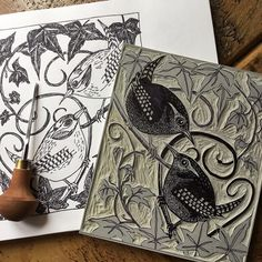 As above but look at the difference between drawing and lino. The lino is where it gets more character. Linocut Printmaking, Relief Printmaking, Screen Printing, Art, Print Artist, Linocut Art, Design Art, Prints, Bird Art