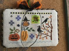 completed cross stitch Lizzie Kate halloween ornament Halloween owl pumpkin