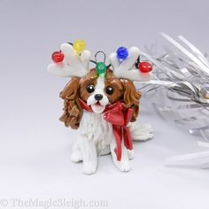 Cavalier King Charles Spaniel Ornament Reindeer Antlers Porcelain Cat Christmas Ornaments Polymer Clay