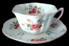 Shelley Teacup Rose Spray Stratford England Rose And Red Daisy