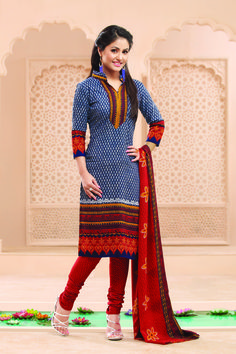 blue shaded dot printed #cottonprintedsalwarkameez
