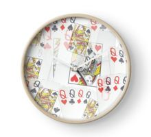 Poker  Cards  Quad Queens Layered Pattern Clock