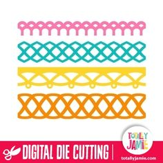 Use these cute fancy borders to add as decorative bands around boxes or keep them as a flat embellishment for scrapbook pages and cards. Digital die cutting files are designed specifically with cutting machines in mind. Use them with programs such as your Silhouette, Cricut (SCAL/MTC), Pazzles, Klick-n-Kut, Wishblade or any cutting machine that can use the following file formats: SVG, PDF, and DXF.