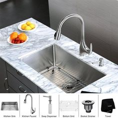 kraus khu100 30 kpf2170 sd20 single bowl kitchen sink and faucet set vigo 32 inch undermount 5050 double bowl 16 gauge stainless steel      rh   pinterest com