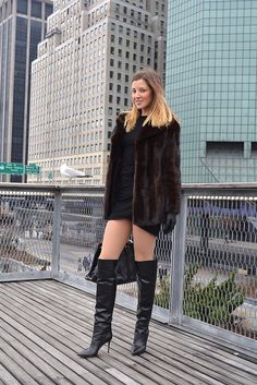 DSC_0548   Otto West   Flickr blonde in black leather OTK boots minidress and fur coat