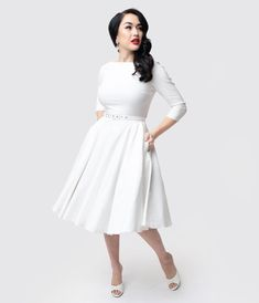 896f545a5e0 Unique Vintage 1950s Style Ivory Stretch Sleeved Devon Swing Dress 1950s  Fashion Dresses