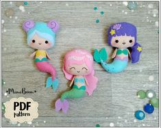 Best 12 Easy tutorial on how to make the 3 cute felt Mermaids ornaments. Completely hand sewn, no need a sewing machine. Size of finish ornaments – about inches cm) tall – about inches cm) tall. – about inches cm) tall Buying thi Felt Doll Patterns, Sewing Patterns, Felt Ornaments, How To Make Ornaments, Felt Diy, Felt Crafts, Resin Crafts, Baby Pattern, Pattern Dress