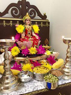 Diwali Decorations At Home, Festival Decorations, Table Decorations, Diwali Diy, Diwali Craft, Pooja Room Door Design, Ganesh Images, Puja Room, Silver Jewellery Indian