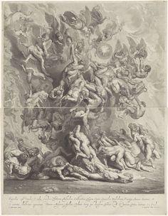 Jonas Suyderhoef | Val van de verdoemden, Jonas Suyderhoef, unknown, Constantijn Huygens (I), 1642 | Engelen gooien de verdoemden in de hel. Voorstelling bestaande uit twee delen.
