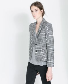 Image 3 of TWO-TONE CHECKED JACKET from Zara