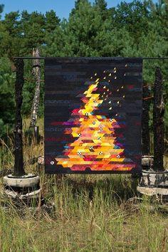 campfire goodness Jellyroll Quilts, Scrappy Quilts, Landscape Art Quilts, Modern Quilt Patterns, Modern Quilting Designs, String Quilts, Contemporary Quilts, Barn Quilts, Quilting Projects