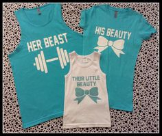 Family Set Of Three Beauty and the Beast and Their Little Beauty Family Shirt Set.