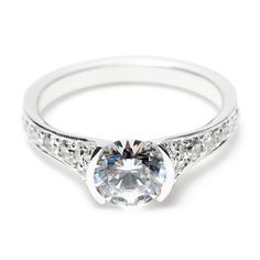 Greenwich Jewelers | Sholdt Engagement Ring with Contemporary Half Bezel