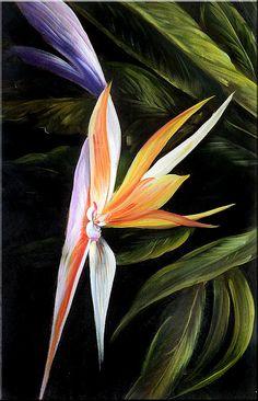 Pintura al óleo originales 23 x 36 exóticas flores realismo naranja morado verde Tropical gran arte por MARCHELLA