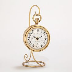 Gold Clock with Stand | World Market, $24.99