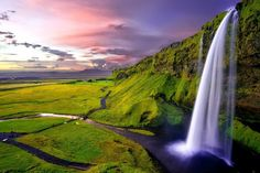 Seljalandsfoss Waterfall, Iceland Seljalandsfoss is a waterfall in Iceland. Seljalandsfoss is located in the South Region in Iceland right by Route 1 and the road that leads to Þórsmörk Road Idyllic landscape with a waterfall Beautiful Waterfalls, Beautiful Landscapes, Landscape Photography, Nature Photography, Waterfalls Photography, Photography Aesthetic, Product Photography, Digital Photography, Waterfall Wallpaper