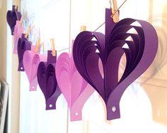 Papier guirlande de coeurs, mariage Bunting, bannière décoration, sticker - toute couleur