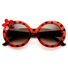Womens Oversized Flower Lady Bug Spotted Round Sunglasses - sunglass.la - 2