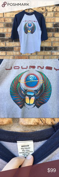 Vintage 1981 Journey Escape Tour Raglan Tee Shirt True vintage Journey tour shirt from 1981. Near mint condition. No flaws to mention. Tag is mens medium, fits more like a modern small/xs. Great size for women. Can provide measurements on request. Vintage Tops Tees - Long Sleeve