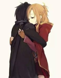 "So glad I waited to watch anime with you, it's way more enjoyable than with anyone else I ever tried watching anime with, I'm happy I see you as kirito and me as asuna... you definitely are the best skilled an smart gamer I've ever met so it's easy picturing you as kirito ❤ ""We'll protect each other..."""