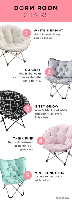 They'll be sitting pretty in this dorm room must-have: a comfy chair for studying and relaxing (once the studying is done, of course). Our picks for back-to-college chairs fold up, are easy to move and will make sure their room has enough seating for all their new friends. Create a dorm sweet home with Kohl's.