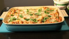 Chicken Tortilla Chip Casserole (or with black beans for vegetarian)