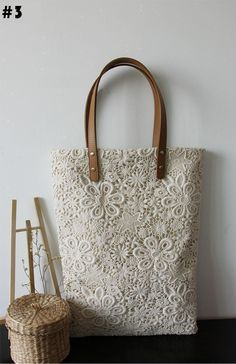Handmade Unique  Extremely Beautiful Lace Tote, 3 style, Double Side Lace. $29.99, via Etsy.