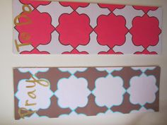 To do and pray boards! These are foam boards. I traced QUATREFOILS onto the board and painted! Super cheap and easy. I use them as bulletin boards.