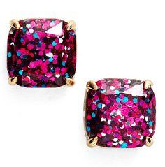 pretty pink glitter earrings