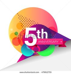 5th Anniversary logo, Colorful geometric background vector design template elements for your birthday celebration.