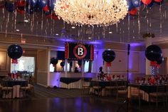 Navy & Red Bar Mitzvah Navy & Red Bar Mitzvah with Ceiling Balloons, Custom Backdrop and Balloon Centerpieces at Primavera Regency