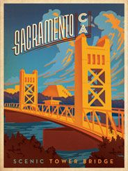 Sacramento: Tower Bridge - After winning international acclaim for creating the Spirit of Nashville Collection, designer and illustrator Joel Anderson set out to create a series of classic travel posters that celebrates the history and charm of America's greatest cities. He directs a team of talented Nashville-based artists to keep the collection growing.