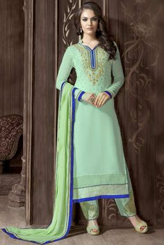 #Green #Georgette #NarrowPant #Suit with Dupatta