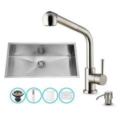 "Vigo VG15248 30"" Single Basin Undermount Kitchen Sink with VG02019 Stainless Ste Stainless Steel Fixture Kitchen Sink Combination"