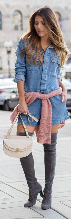 Gray Suede O T K B Blush Waist Tied Sweater Denim Shirt Dress Fall Inspo by The Girl From Panama