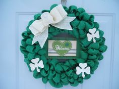 St. Patrick's Day Wreath Irish Wreath Green by ChloesCraftCloset