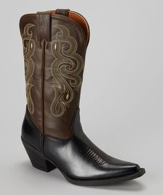 Take a look at this Black & Brown Coppell Cowboy Boot - Women by Smoky Mountain Boots on #zulily today!