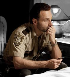 Rick Grimes (Andrew Lincoln) keeps watch beside the bed of his injured son. The Walking Dead (AMC) Walking Dead Spin Off, Walking Dead Series, Walking Dead Season, Andrew Lincoln, Rick Grimes, Stuff And Thangs, Daryl Dixon, Man Alive, Best Shows Ever