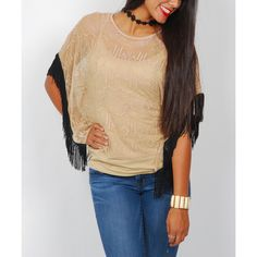 Miss Lily Taupe Geometric Lace Fringe Dolman Top ($13) ❤ liked on Polyvore featuring tops, open back lace top, tall tops, dolman top, bohemian style tops and lace fringe top