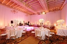 Blush Lighting in Ballroom    Photography: Brian Leahy Photography   Read More:  http://www.insideweddings.com/weddings/a-classic-romantic-celebration-with-lush-florals-in-beverly-hills/973/