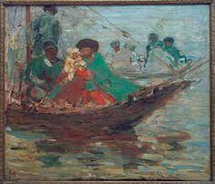 """""""Kalmückenboot auf der Wolga"""", 1920. Sterl, Robert Hermann 1867–1932."""