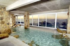 A sweet indoor swimming pool right on the ocean