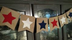Patriotic 4th of July Americana Stars Burlap by TheDahliaCottage